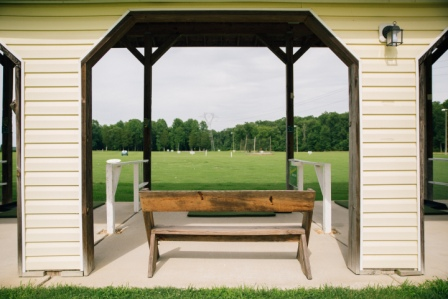 Fully equipped tee-line, benches, tees & cup holders
