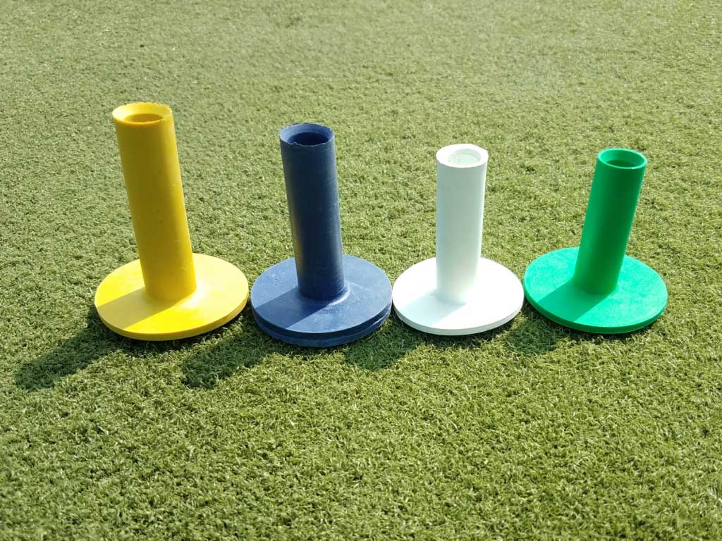 Only colored rubber tees in the region! One desinated color for each tee height